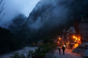Our early morning foggy walk to Machu Picchu