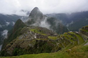 Overlooking the village of Machu Picchu - Huaynu Picchu is the tallest mountain in the back where we climbed to the peak!
