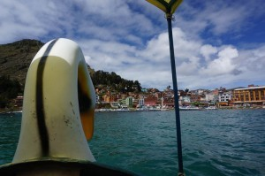 Our swan pedal boat facing the shoreline of Copacabana