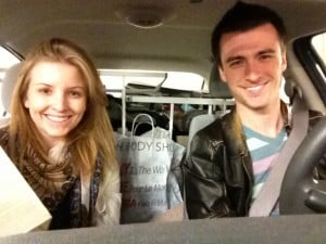 Our car filled with the final stuff pile to pass onto friends and family