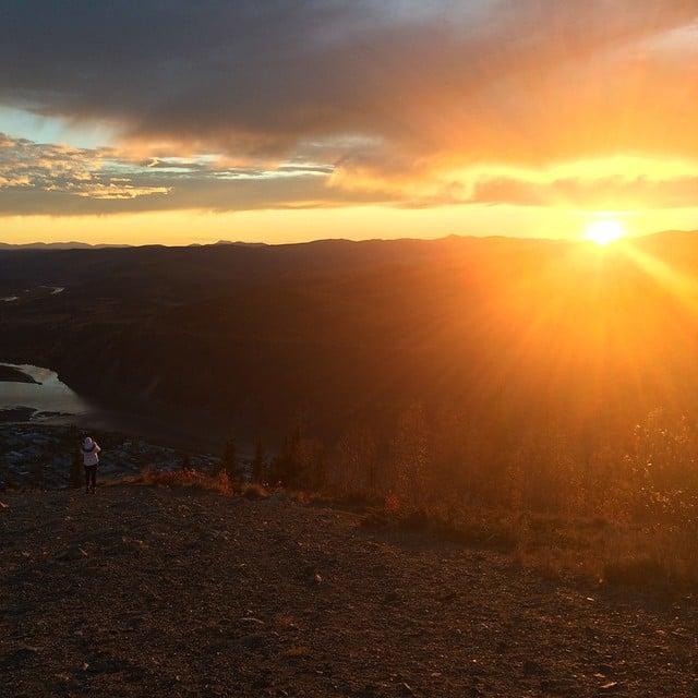 Mesmerizing sunset over Dawson City, Yukon. #canada #skyporn #yukon #greatwhitenorth #sunset #travel #wanderlust #thriftynomads #nofilter