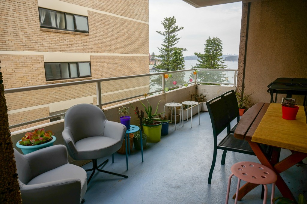 A photo of our balcony from our old Airbnb listing on a cloudy day.