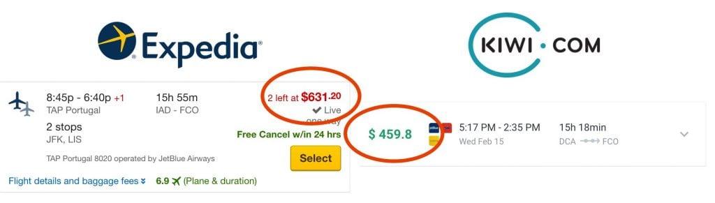 Kiwi vs Expedia flights