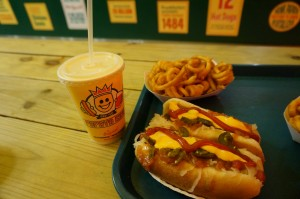 Papaya King – a must-stop for hot dogs (vegetarians can enjoy their crispy French fries and papaya shakes!)