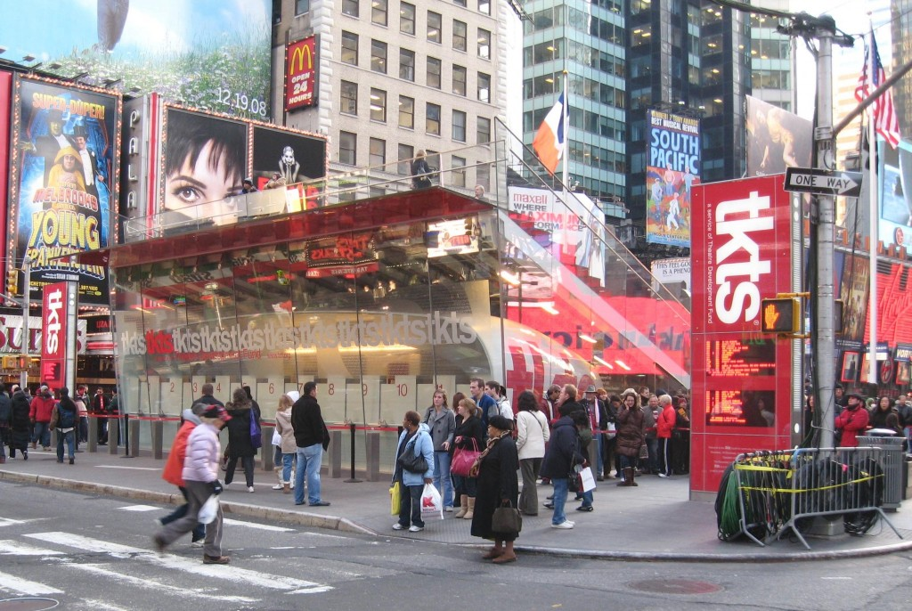 The TKTS booth in Times Square which sells discounted show tickets daily. Simply pop by and see what's marked down! Source