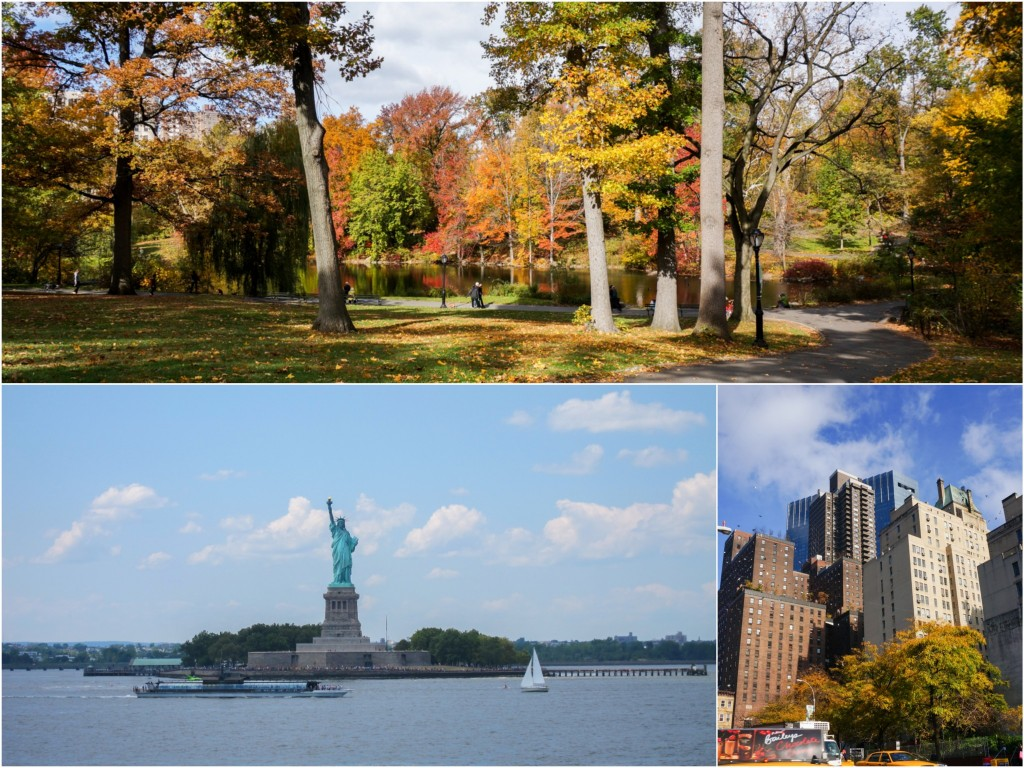 More freebie favourites: Central Park (top), Statue of Liberty (take the Staten Island ferry to view it by boat for free - what will you see by paying to go inside anyway?!), and last but not least WALKING the city and gazing up at its infinite cement giants