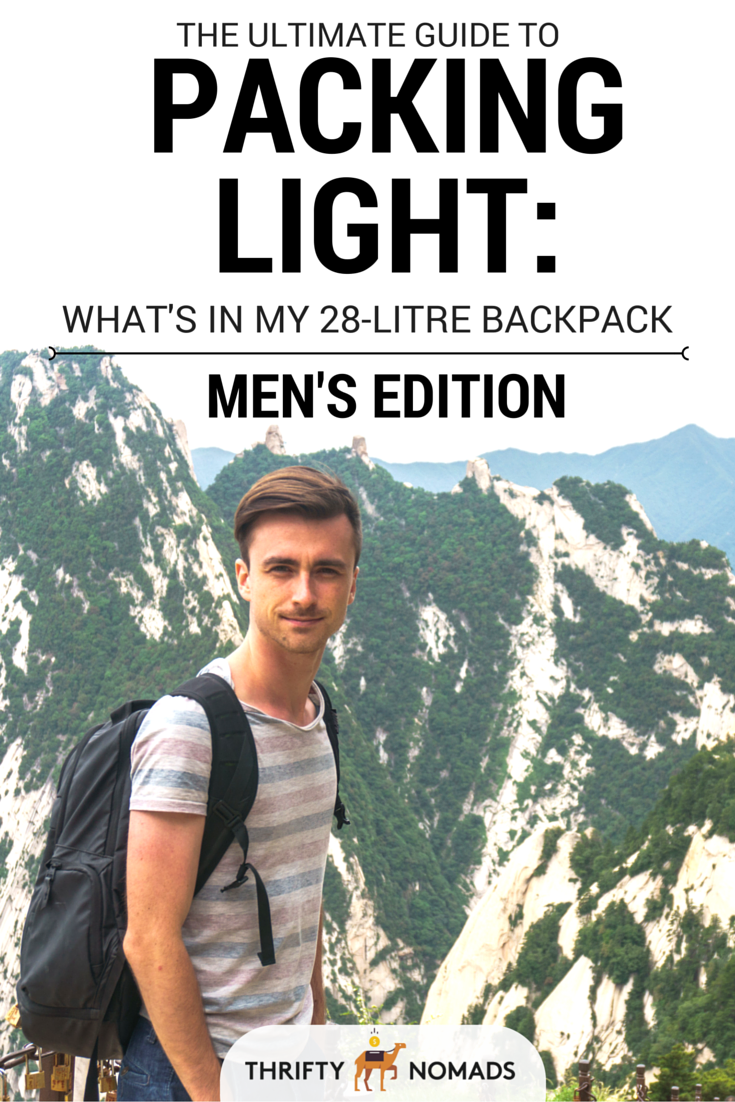 A compact packing list for men outlining every last thing to bring, without overpacking! #travelpacking #packingguide #menspackingguide #travelpack