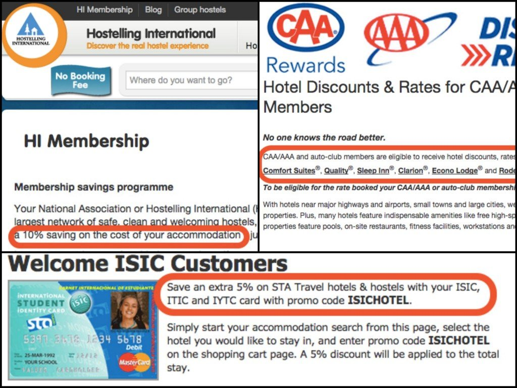 CAA AAA ISIC Hostelling International Hotel Discounts