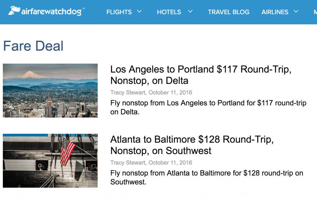 Airfarewatchdog Deals Blog