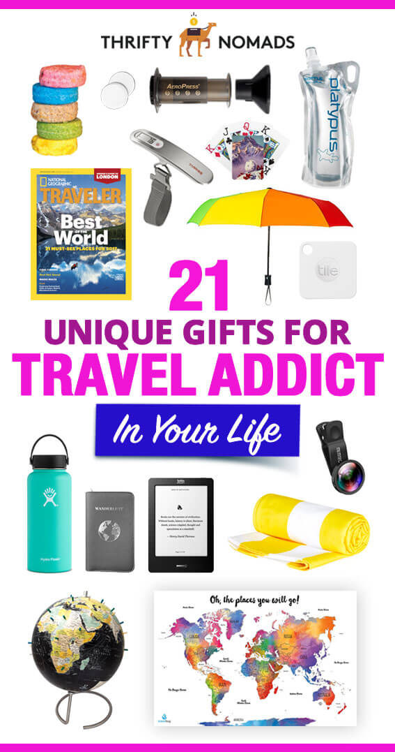 Finding a gift for the traveller in your life can be challenging. Here's 21 unique gift ideas to intrigue any globetrotter! #travelgiftideas #travelpresents #travellergift #uniquetravelgifts