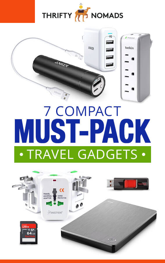 Don\'t leave home without these 7 travel gadgets to save you time, stress, and money! #travelpacking #packingguides #travelgadgets #budgettravel