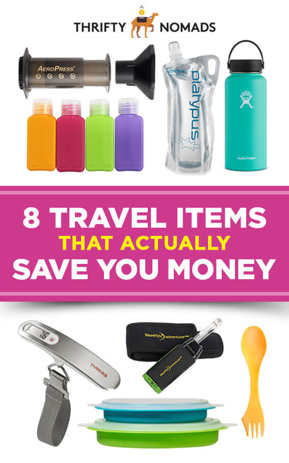 Travel gear is often an unnecessary spend. But these 8 items will actually save you money on any trip. #budgettravel #cheaptravel #packing #packingguide