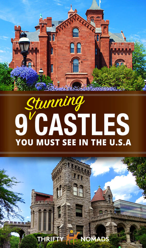 The USA is home to beautiful castles & mansions all over the country. Here\'s the 9 most gorgeous castles to see across the U.S.! #usacastles #usaroadtrip #usatravel #budgetusa
