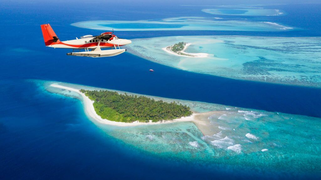 Flight over Maldives