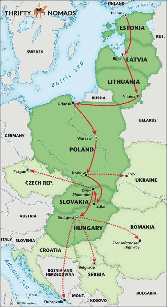 Eastern Europe Itinerary Map