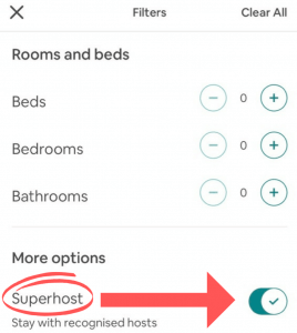 Airbnb Superhost filter